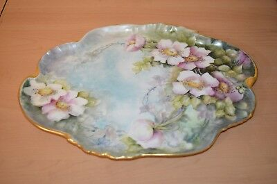 Outstanding Signed Hand Painted Floral Serving Tray - H Robertson - France