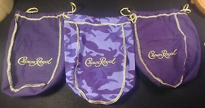 Crown Royal Bags Lot 3 Purple Camo Camouflage 750ml Size Drawstring Bag