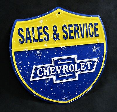CHEVROLET Shield - *US MADE* Embossed Sign - Man Cave Garage Shop Bar Wall Decor
