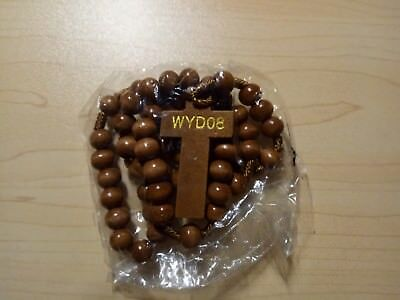 World Youth Day 2008- WYDSYD08. Commemorative wooden Rosary Beads. NEW!
