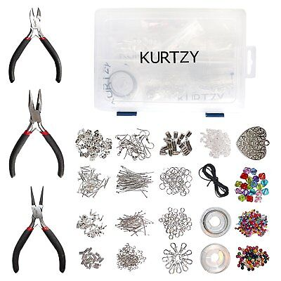 Kurtzy 1000pcs Deluxe Silver Plated Jewellery Making Kit by Includes Jump Rings,