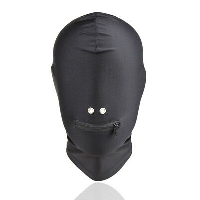 PVC Wet Leather Look Ziped Mouth Nose Hole Head Hood, Dungeon Restraint Mask