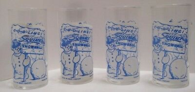 4 Old 1949 Squirt Soda Advertising Drinking Glasses - Christmas Snowman -Federal