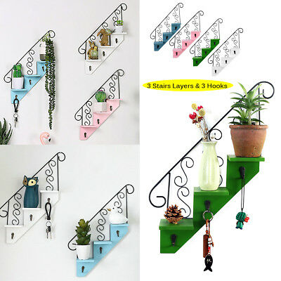 Metal Stair Shaped Rack Iron Wood Display Shelf Wall Storage Home Office Decor