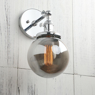 """5.9"""" Globe Smoky Glass Vintage Industrial Wall Lamp Sconce Up Down Wall Light"""