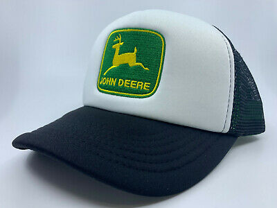 John Deere Black / White Trucker Cap