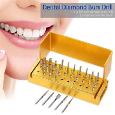 30 Dental Diamond Burs Drill&Disinfection Block High Speed Handpieces Holder Set