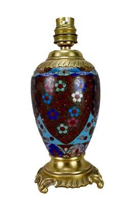 Antique 19th.C French Cloisonne Enamels Lamp Base Working Order !