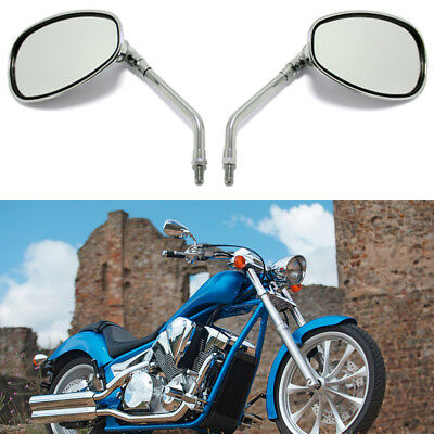 Universal Motorcycle Rearview Side Mirrors Custom 10mm Screws Thread Chrome Pair