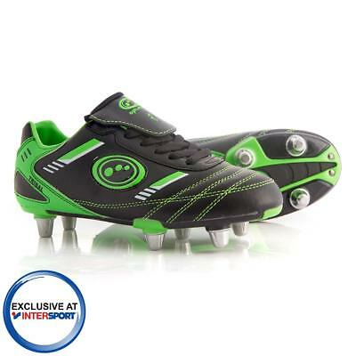 Childs Black and Green Optimum Tribal Rugby Boots In UK Sizes 1,3 & 6 RRP £25.00
