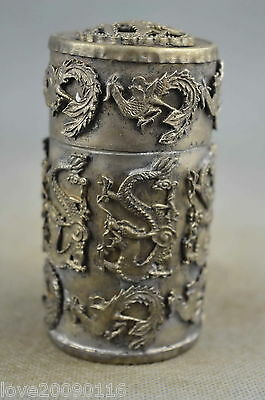 Collectible Decorated Tibet Silver Carving Dragon Phoenix Exorcism Toothpick Box