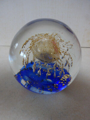 Round Glass Paperweight - Blue Base With Gold Octopus