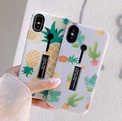 Cactus Pineapple Hybrid Soft Phone case for iphone 6 6s 7 8 plus X Holder Stand
