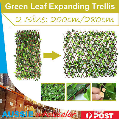 Expanding Trellis Artificial Plant Garden Wall Leaf Wood Fence UV Protected