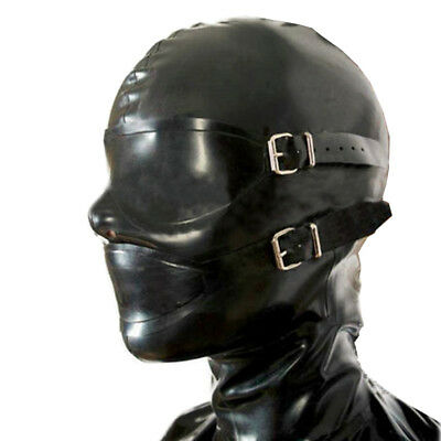Latex Rubber Hoods with Removable Eyes&Mouth Masks Rivet Decoration around Eyes
