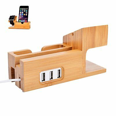 Watch Stand for Apple, Bamboo Wood Charging Stand Bracket Docking W/ 3 USB Ports
