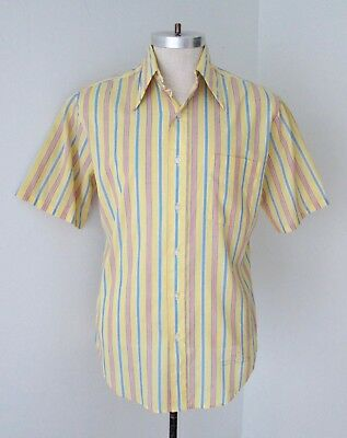 Vtg 60s Yellow Blue Red Stripe Poly Cotton SS Preppy Nerd Geek Shirt Tapered M