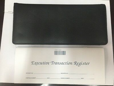 NEW Black Leather Checkbook Cover For Business Office with Transaction register