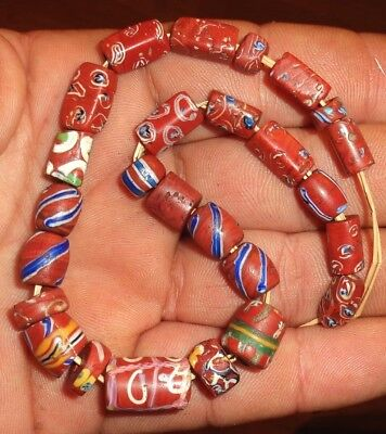 Beads Millefiori Antique Africa Antique African RED BRICK Venetian Trade Beads