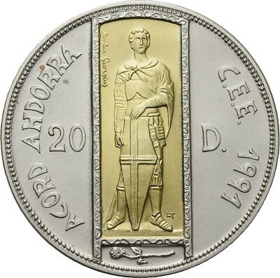Künker: Andorra, 20 Diners 1993, St. Georg, Zollunion Gold-Inlay, Top!