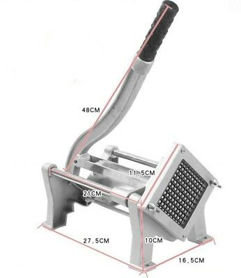 Commercial Hand French Fry Fries Making Machine Potato Chip Cutter + 3 blades
