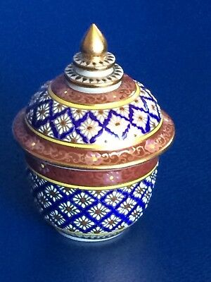 Beautiful THAI Benjarong Porcelain HAND PAINTED Bowl/Covered Jar
