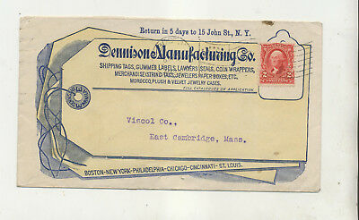 ca1902 DENNISON MANUFACTURING CO LABELS TAGS STAMP HINGES ADVERTISING COVER