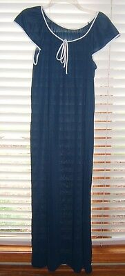 Vtg Navy Nylon Long Nightgown Sz L