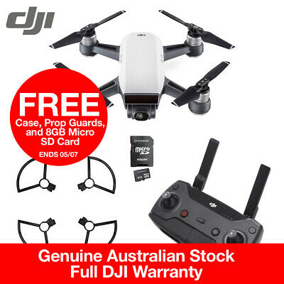DJI Spark Alpine White Controller Combo + Prop Guards + FREE SD CARD & CASE