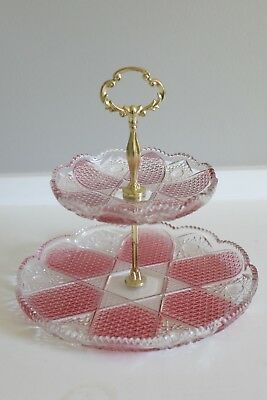 Vintage Pink Gold Cake Dessert Tray Two Tier Tray Glass Vintage Serving Tea