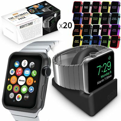 Orzly ULTIMATE PACK for Apple Watch 38 MM Gift Includes Compact Stand & of 20