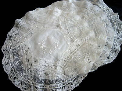 "4 Antique French Normandy Lace 9"" Rounds Doilies Lot #24"