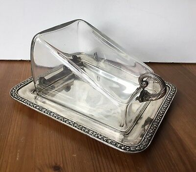 Antique 800 Silver & Glass Covered Cheese Dish Keep Koch Bergfeld Germany