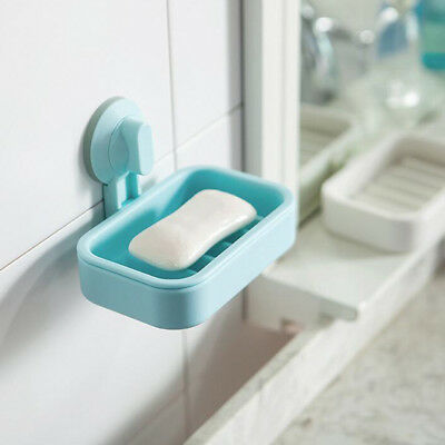 Durable Suction Cup Plastic Wall Soap Holder Dish Tray Bathroom Shower Blue