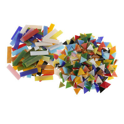 370pcs Rectangle Triangle Shape Glass Mosaic Tiles Pieces for DIY Art Craft