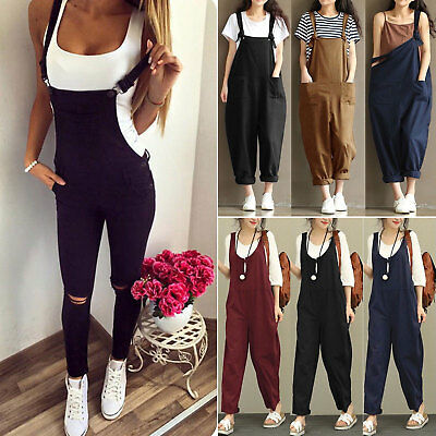 Women Sleeveless Dungarees Overall Long Playsuit Jumpsuit Pants Trouser Jeans UK
