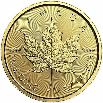 2018 Canadian Gold Maple Leaf 1/4 oz Gold Coin | Sealed in Mint Plastic