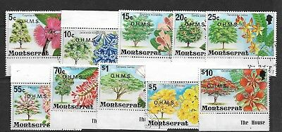 MONTSERRAT Stamps 1976 Flowering Tress Overprinted OHMS Part Set Used