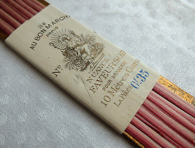 10 metres antique Bonne Marche pink silk ombre embroidery ribbon from France