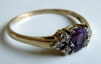 FABERGE Antique Imperial RUSSIAN Ring with Amethyst and Diamonds Stones, 56 gold