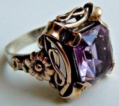 FABERGE Antique Imperial RUSSIAN Ring BIG Amethyst Stone,56 gold & 84 Silver