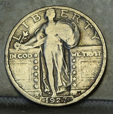 """1927-S Liberty Standing Quarter """"VG+"""" *Free S/H After 1st Item*"""
