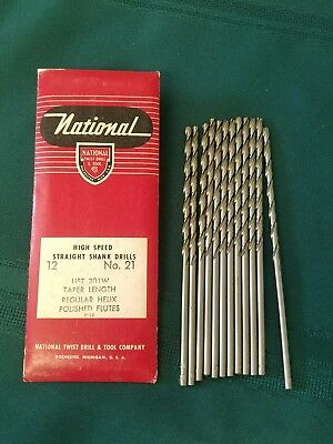 New 12Pc  #21 High Speed Straight Shank Drills By NATIONAL