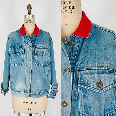 Vintage 1970s 80s UNISEX Denim Jean Jacket Coat Red Trim Plaid Grunge 100% Cotto