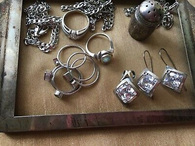 Wearable/Scrap Sterling Silver Jewelry Lot and extra