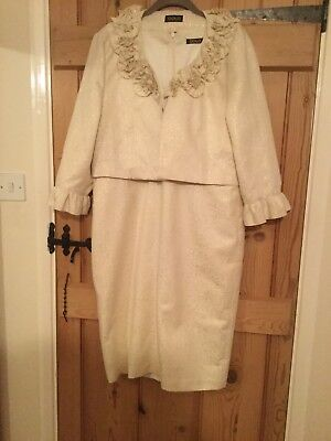 GOLD two piece dress and jacket in cream and gold, VGC size 16