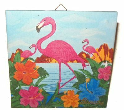 Hand Painted Flamingos & Hibiscus Trivet Island of Banaire Excellent Condition