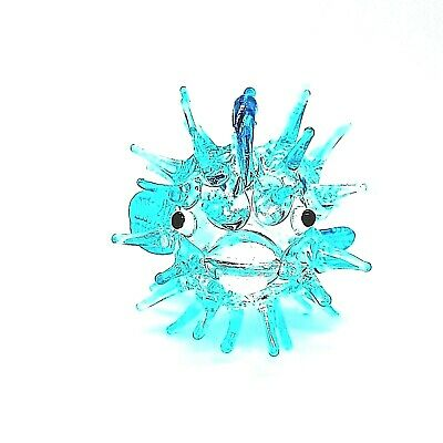 Figurine Miniature Blown Glass Blue Puffer Fish Art Painted Animal Collectibles