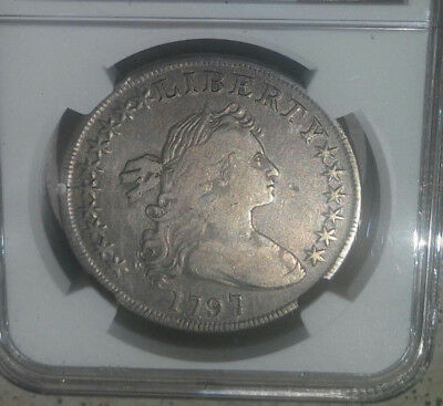 1797 Draped Bust/Small Eagle silver dolllar - 10X6 stars NGC VF details