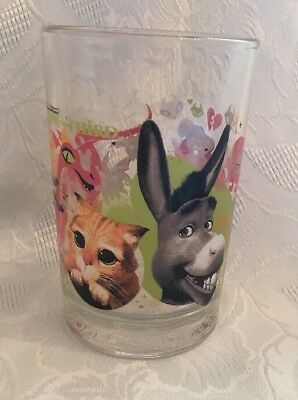 McDonald's Shrek the Third Glass.16 ounces. Donkey and  Puss in Boots glass.